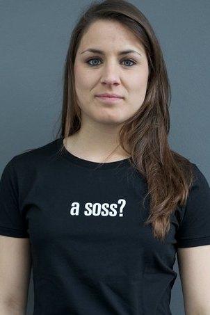 "WOMEN'S T-SHIRT ""a soss?"": Shirt colour ""Black"", Print ""White"""