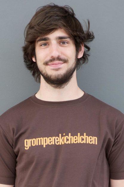 "MEN'S T-SHIRT ""gromperekichelchen"": Shirt colour ""Dark Brown"", Print ""Light brown"""