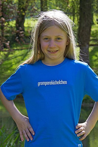 """KIDS' T-SHIRT  """"gromperekichelchen"""": Shirt colour """"Bright Blue"""", Print """"White"""""""