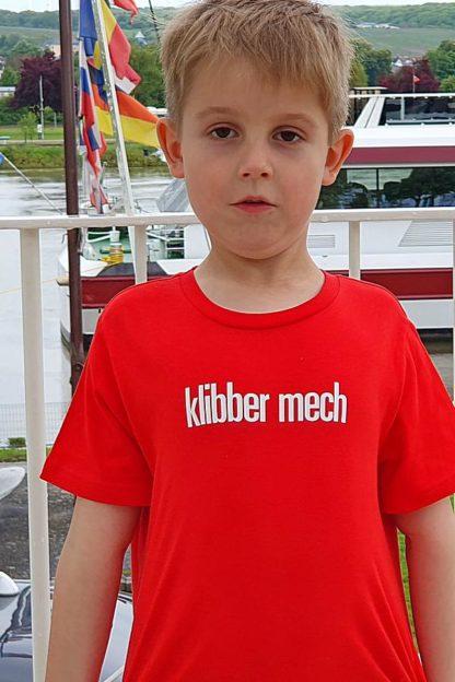 "KIDS' T-SHIRT ""klibber mech"": Shirt colour ""Red"", Print ""White"""