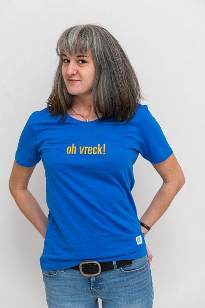 """WOMEN'S T-SHIRT """"oh vreck!"""": Shirt colour """"Ocean blue"""", Print """"Yellow"""""""