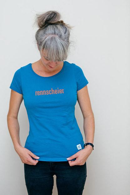"""WOMEN'S T-SHIRT """"rennscheier"""": Shirt colour """"Ocean depth"""", Print """"Orange"""""""