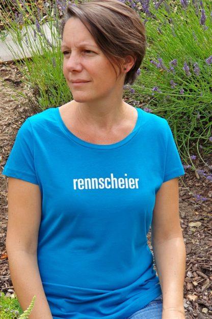 """WOMEN'S T-SHIRT """"rennscheier"""": Shirt colour """"ocean depth"""", Print """"White"""""""