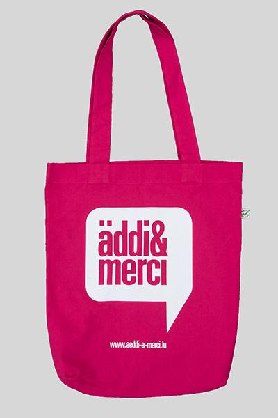 "ORGANIC SHOPPER-BAG ""äddi&merci"": Bag colour ""Pink"", Print ""White"""