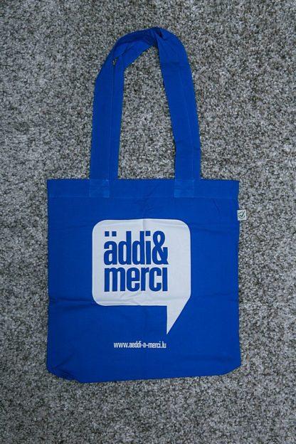 "ORGANIC SHOPPER-BAG ""äddi&merci"": Bag colour ""Bright blue"", Print ""White"""