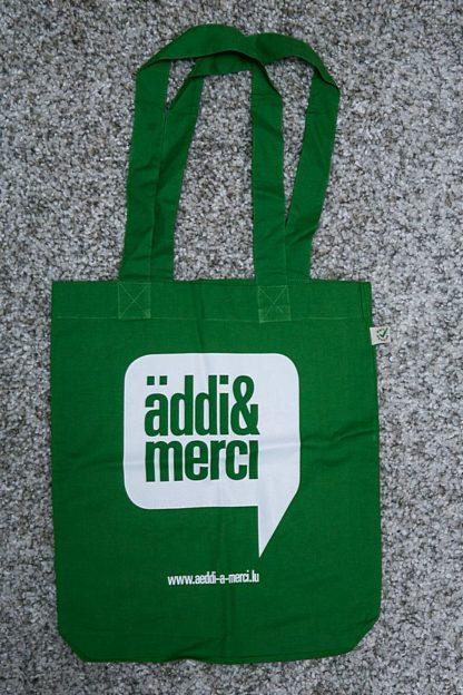 "ORGANIC SHOPPER-BAG ""äddi&merci"": Bag colour ""Leaf green"", Print ""White"""