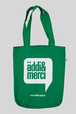 "ORGANIC SHOPPER-BAG 'äddi & merci': Bag colour ""kelly green"", Print white"