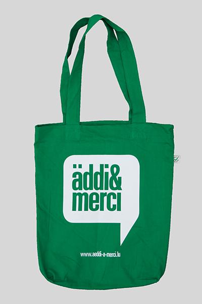 "ORGANIC SHOPPER-BAG ""äddi&merci"": Bag colour ""Kelly green"", Print ""White"""