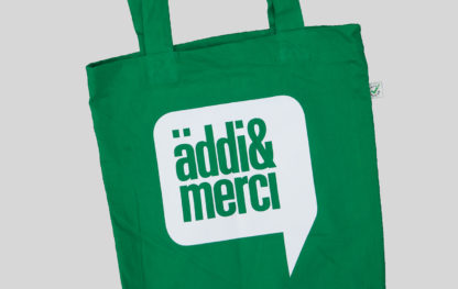 "ORGANIC SHOPPER-BAG 'äddi & merci': Bag colour ""kelly green"", Print white"