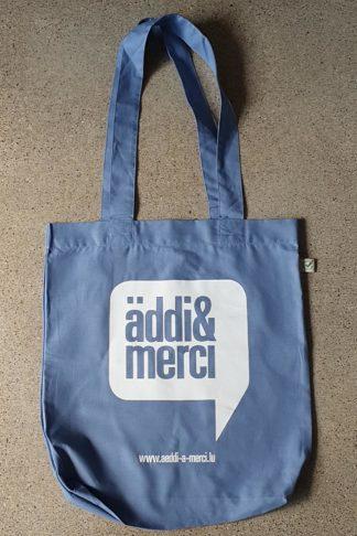 "ORGANIC SHOPPER-BAG 'äddi&merci': Bag colour ""denim blue"", Print white"