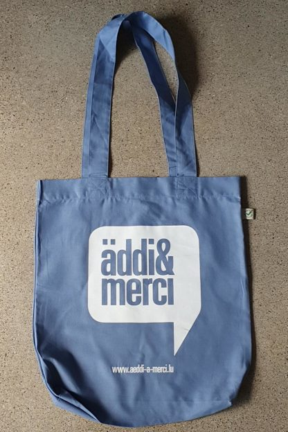"ORGANIC SHOPPER-BAG 'äddi&merci': Bag colour ""denim blue"", Print white"