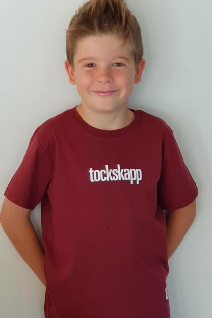 "KIDS' T-Shirt 'tockskapp', Shirt colour ""burgundy"", Print white"