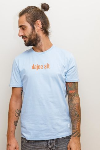 "MEN'S T-SHIRT ""dajee alt"": Shirt colour ""Sky blue"", Print ""orange"""