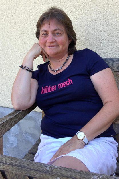 "WOMEN'S T-SHIRT ""klibber mech"": Shirt colour ""French navy"", Print ""red"""