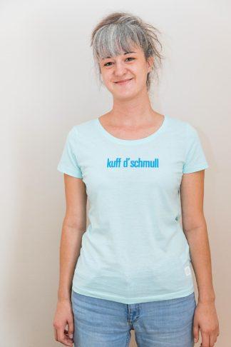 """WOMEN'S T-SHIRT """"kuff d'schmull"""": Shirt colour """"Carribean blue"""", Print """"dark blue"""""""