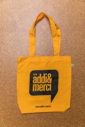 "ORGANIC SHOPPER-BAG ""äddi&merci"": Bag colour ""Gold"", Print ""Black"""
