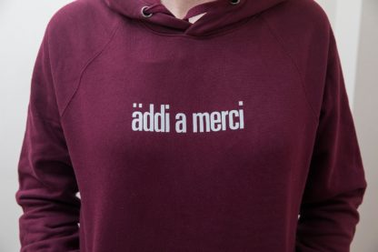 "Unisex Hoody ""äddi a merci"": Hoody colour ""Claret red"", Print ""Cool grey"""