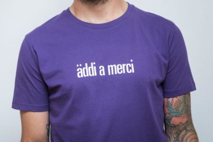 "MEN'S T-Shirt 'äddi a merci': Shirt colour ""plum"", Print white"