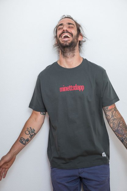 "MEN'S T-SHIRT 'minettsdapp': Shirt colour ""Charcoal Grey"", Print red"