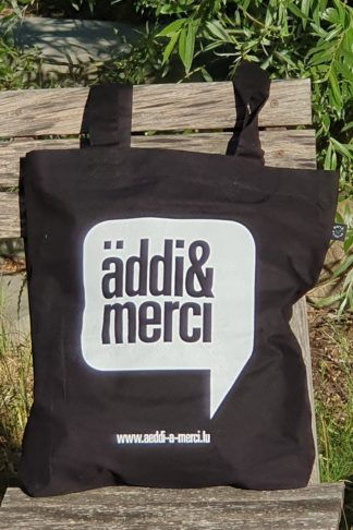 "ORGANIC SHOPPER-BAG ""äddi&merci"": Bag colour ""Black"", Print ""White"""