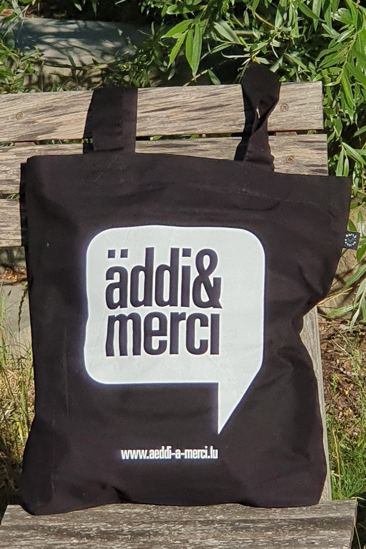 "ORGANIC SHOPPER-BAG ""äddi&merci"": Bag colour ""Black"", Print ""White"""