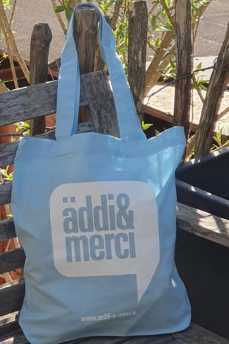 "ORGANIC SHOPPER-BAG ""äddi&merci"": Bag colour ""Aqua Marine"", Print ""White"""