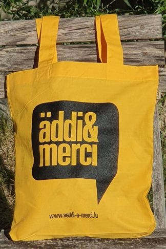 "ORGANIC SHOPPER-BAG ""äddi&merci"": Bag colour ""Gold"", Print ""Black"""