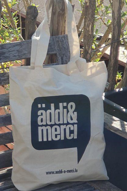 "ORGANIC SHOPPER-BAG ""äddi&merci"": Bag colour ""Natural"", Print ""Black"""