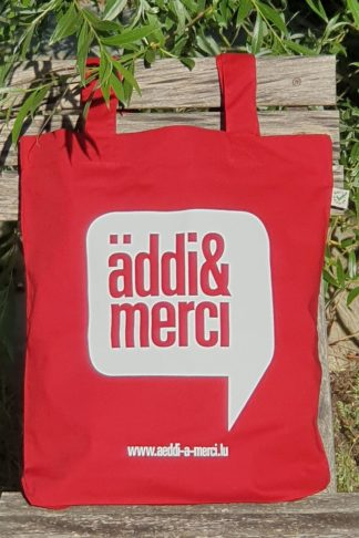 "ORGANIC SHOPPER-BAG ""äddi&merci"": Bag colour ""Red"", Print ""White"""