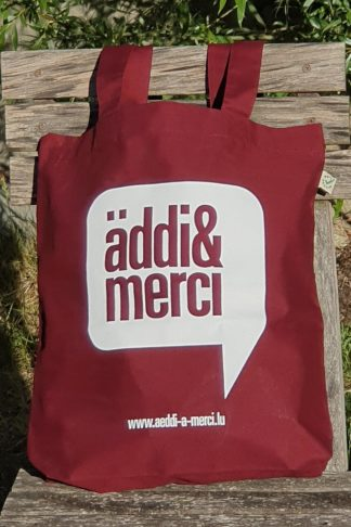 "ORGANIC SHOPPER-BAG ""äddi&merci"": Bag colour ""Burgundy"", Print ""White"""