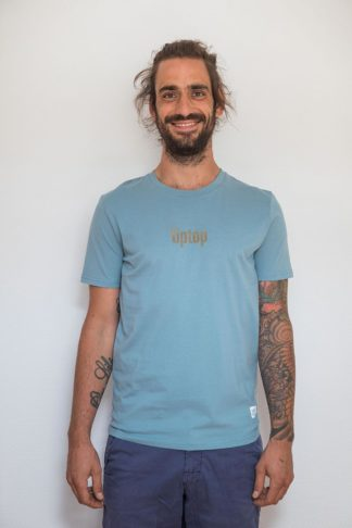 "UNISEX T-SHIRT ""tiptop"": Shirt colour ""Citadel blue"", Print ""Light brown"""