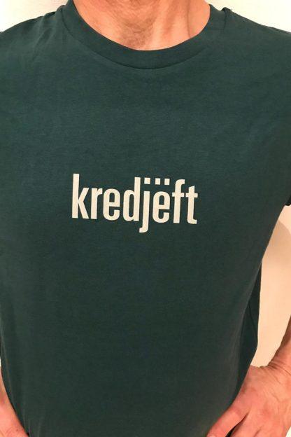 "UNISEX T-SHIRT ""kredjëft"": Shirt colour ""Glazed green"", Print ""Grey"""